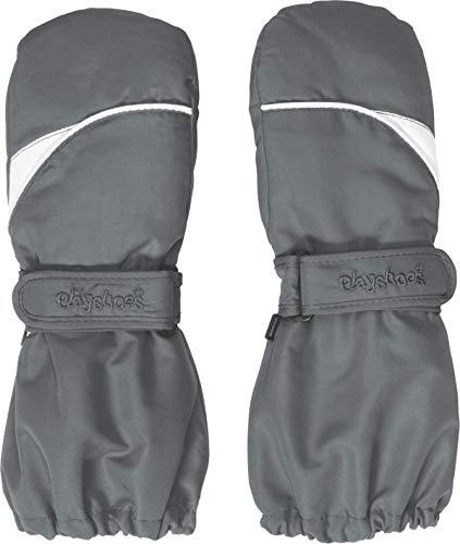 Playshoes Kinder Fäustlinge mit Thinsulate-Technik und und langem Schaft warme Winter-Handschuhe mit Klettverschluss, grau, 3