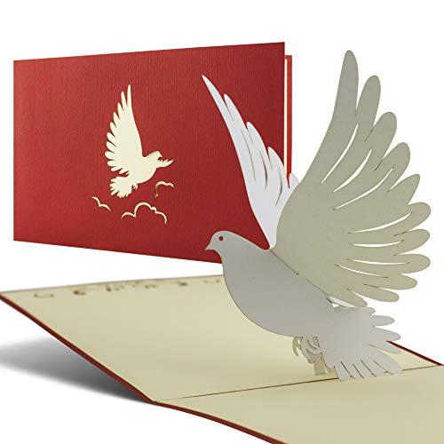 Karte zur Taufe, Konfirmation, Kommunion, Glückwunsch zur Taufe, Taufkarte für Junge oder Mädchen mit Taube 3D Pop Up Karte C04