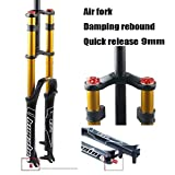 WCS Bicycle Suspension Fork Shock Absorber Aluminum Mountain Bike Front Fork 26 27.5 29 Inch Double Shoulder Control,Support 160mm to 185mm disc Brake (Color : Gold, Size : 26 inch)