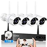 CKK Wireless Security Camera System,8 Channel 5MP NVR with 1TB Hard Drive, 4pcs 5.0 Megapixel (2560 × 1920) WiFi IP Security Surveillance Cameras Outdoor Indoor,2 Way Audio,Remote View,H.265+ NVR