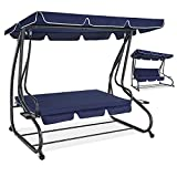 Converting Flat Bed Canopy Swing, 3-Seat Outdoor Patio Porch Lounge Chair for Backyard, Adjustable Shade, Removable Cushions