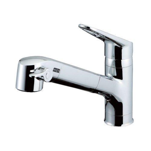 LIXIL(リクシル) INAX キッチン用 台付 浄水器内蔵シングルレバー混合水栓 エコハンドル 浄水 微細シャワー整流 ホース引出し 凍結防止水抜き仕様 RJF-771YN