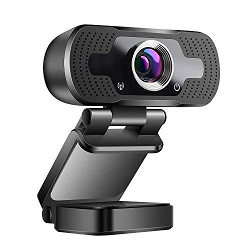 zilnk 1080P USB Webcam con Microfono, Videocamera USB HD da 2 MP per Videochiamate, Conferenze, Apprendimento Online, Skype, Compatibile con PC Laptop Desktop MacBook/Windows Android iOS, Grandangolo
