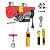 VIVOHOME 110V Overhead Electric Lifting Hoist Pulley Winch with Remote Control 440lbs ETL Listed