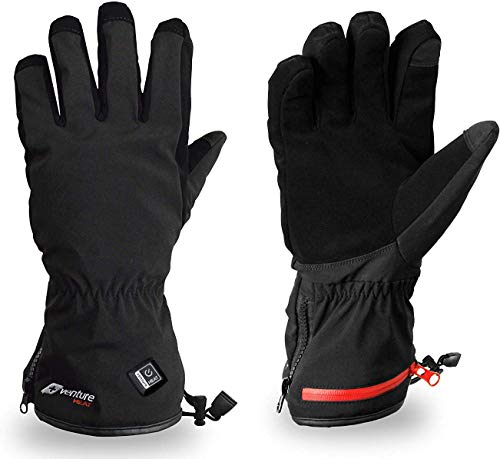 Venture Heat Insulated Heated Gloves for Men Women with Battery Pack - Hand Warmer for Skiing Snowboarding Snow, Rechargeable (L)