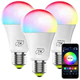 Smart WiFi Bulb No Hub Required, Magic Home RGBCW A19 E26 7W (60w Equivalent) Multicolor Dimmable WiFi LED Lights, Works with Alexa Google Home and Siri (3 Pack)