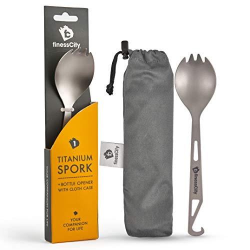 Spork 1 Unit, Titanium Spork (Spoon Fork) With Bottle Opener Extra Strong Ultra Lightweight (Ti), Healthy & Eco-Friendly Spoon, Fork & Bottle Opener for Travel / Camping in Easy to Store Cloth Case