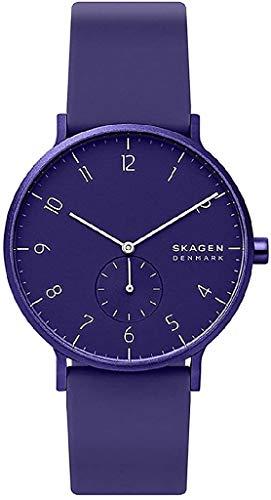 Skagen Herren Analog Quarz Uhr mit Silicone Armband SKW6542