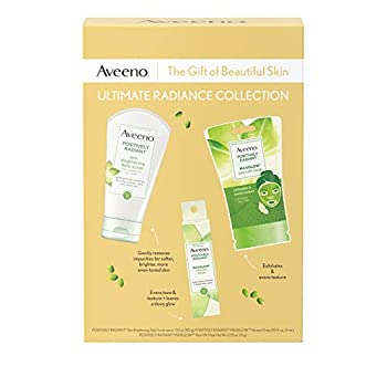 Reveal glowing skin with the 3 item Aveeno Ultimate Radiance Collection Skincare Gift Set complete with Positively Radiant Skin Brightening Daily Scrub, Positively Radiant MaxGlow Infusion Serum Drops, and Positively Radiant MaxGlow Peel-Off Face Mas...