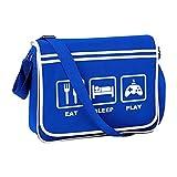 Mangez du sommeil - Console arcade gamer, gamepad- Sac messager rétro pour homme - Bleu -...