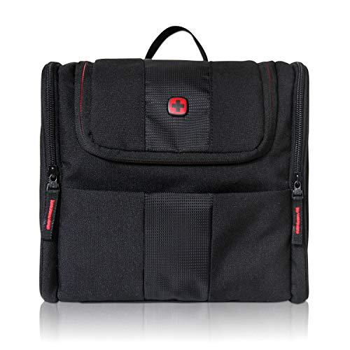 WENGER Premium Reise Kulturtasche zum Aufhängen für Damen und Herren, großer Kulturbeutel mit 7 Liter Fassungsvermögen, Kosmetikbeutel mit Haken, Kosmetiktasche in Schwarz mit grauem Innenfutter