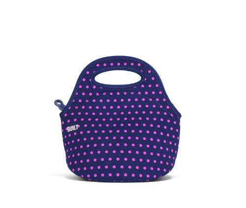 BUILT Gourmet Getaway Soft Neoprene Lunch Tote Bag-Lightweight, Insulated and Reusable, Snack, Mini Dot Navy