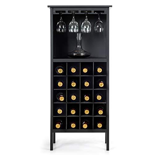 Goplus Cantinetta Scaffale Portabottiglie di Vino con Porta Calici per 28 Bottiglie e 12 Calici, in Legno di Pino Resistente allumidit,96x25x42cm (Nero)