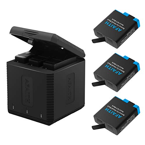 AFAITH Caricabatteria triplo per ricarica Caricabatteria+3 pacco batteria con custodie per batterie per GoPro Hero 8 Black,Hero7 Black, GoPro Hero 2018, Hero 6, Hero 5 Black