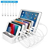 TechDot Station de charge 6 Ports USB Chargeur Multiple Station Recharge Support charge pour iPhone...