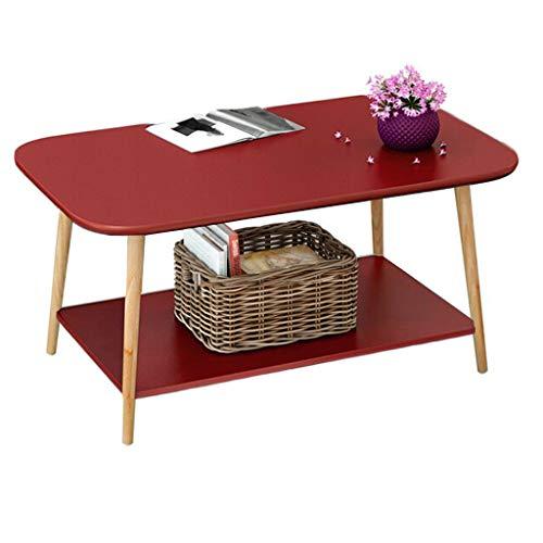 Home Warehouse Divano a Due Strati Tavolo, Soggiorno tavolino Rettangolare Tavolino da Salotto Tavolo da Lavoro Camera da Letto tavolino Decorativo,Red