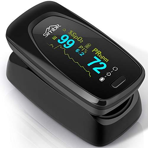 SIMBR saturatiemeter   Nauwkeurige metingen van Sp02   Met alarmfunctie   Inclusief 2 AAA-batterijen, draagtas met riemlus en draagband