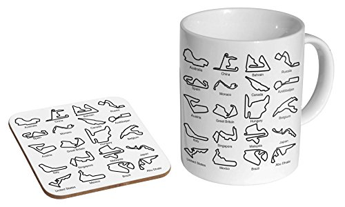 Racing Circuit Tracks Collage F1 GP Ceramic Coffee MUG + Coaster Gift Set …