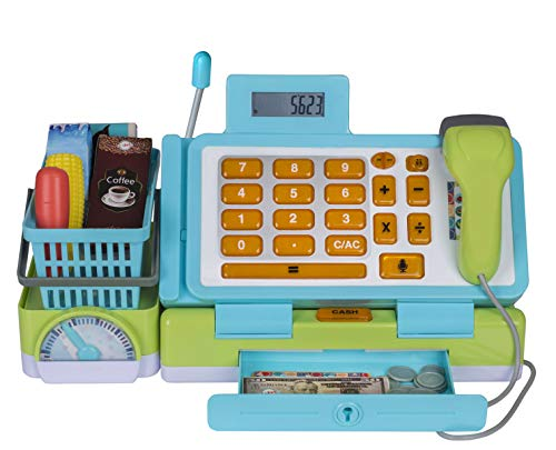 Playkidz Interactive Toy Cash Register for Kids - Sounds & Early Learning Play Includes Play Money Handheld Real Scanner Working Scale & Calculator, Live Microphone Food Boxes Plastic Fruit & Basket