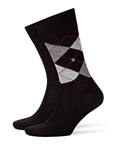 Burlington Everyday Argyle Mix Baumwolle 2 Paar, Calzini Uomo, Nero (Black 3000), 7-10 (Taglia...