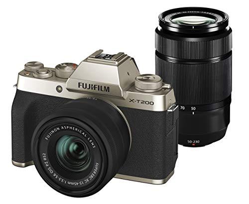 FUJIFILM ミラーレス一眼カメラ X-T200ダブルズームレンズキット シャンパンゴールド X-T200WZLK-G