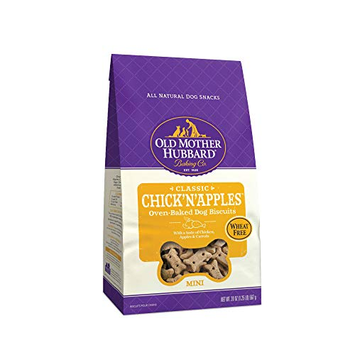 Old Mother Hubbard Classic Chick'N'Apples Biscuits Baked Dog Treats, Mini, 20 Ounce Bag, Vegetable