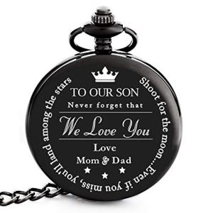 "To My/Our Son | Dad, Mother & Son – Graduation Gifts for Him 2020 – Engraved ""To Our Son Love Mom & Dad"" Pocket Watch – Perfect Gifts for Son for Graduation, Birthday, Christmas & Valentines Day"