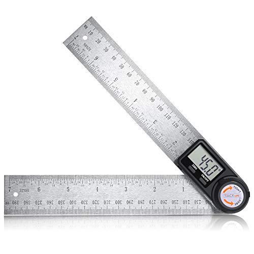 Règle d'Angle Numérique 400 mm Tacklife MDA02 Mesure de Longueur et d'Angle/Acier Inoxydable/Système Métrique et Impérial/Rapporteur avec Ecran LCD/Travail du Bois, Construction