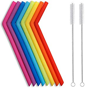 PACK OF 8 ASSORTED COLORFUL SILICONE STRAWS - Approx 10 Inch Length + 2 Brushes. The colors are pretty, the silicone is soft-easy to bend, easy to cut to desired length. Able to clean easily with the brush. ENJOY THE QUALITY AND DURABILITY - Made of ...