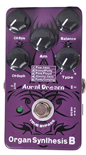 Aural Dream Organ Synthesis B Guitar Effects Pedal includes POP Jazz,Groovy&Funky,Pink Floyd,Jimmy Jazz and Funky Comping organ effect with Rotary Speaker,Percussion and Chorus Module