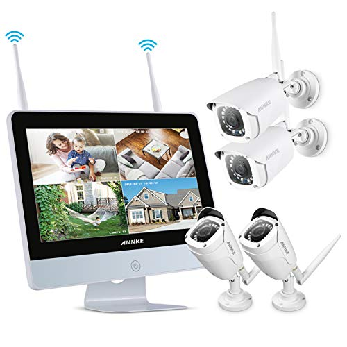 ANNKE Videosorveglianza 8 canali NVR wireless WIFI Kit 12' Schermo LCD 1080P HD 1080P IR Telecamera Day/Night Vision IP Telecamera di sorveglianza P2P CCTV