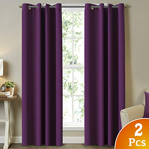 Turquoize Blackout Window Remedy Curtains/Drapes for Bed room, Further Lengthy Curtain Panel Drapes for Patio Door/Eating Room Blackout Residing Room Curtains 108 Inch Size (Plum Purple Shade) 2 Panels