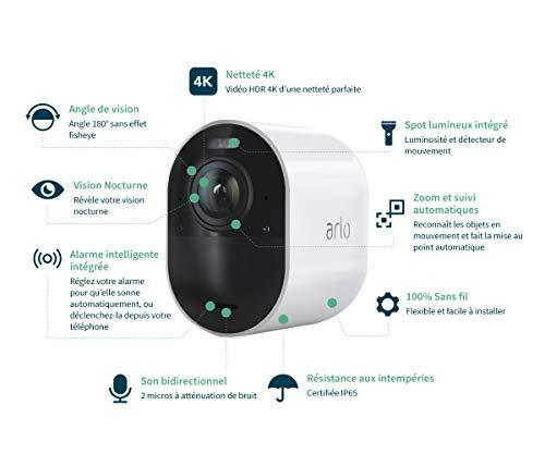 41GTiS6zGNL [Bon plan Arlo !  Arlo Ultra   4K HDR Caméra Additionnelle avec éclairage Intégré, Rechargeable, sans Fils, Audio Bi-Directionel, Éta...