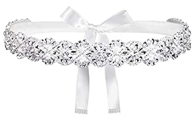 """Silver Rhinestone bridal belt size: applique rhinestone about 16.7"""" long, 1.25"""" wide, with a 102"""" long ribbon, tie the ribbone on you back with a beautiful bow,also you could adjust the ribbon to fit you Charming bridal belts and sashes with ribbon,s..."""