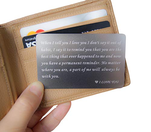 RXBC2011 Wallet gift card Engraved Wallet Insert Card boyfriend gifts valentines for him mens gifts ideas husband gifts from wife Anniversary Gifts for Men Handmade Fathers Day I love you Deployment