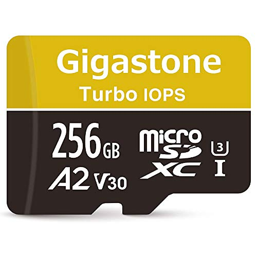 Gigastone 256GB Micro SD Card, A2 V30 UHS-I U3 Class 10 Memory Card, Game Pro Series Nintendo Switch Compatible, Run App for Smartphone, UHD 4K Video Recording, 4K Gaming, Read/Write 100/80 MB/s