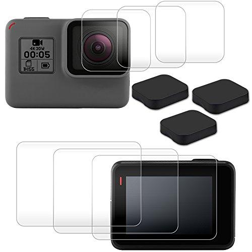 AFUNTA pellicola proteggi lenti per GoPro Hero 6con obiettivo tappi, 3confezioni (6pz) pellicola in vetro temprato antigraffio e accessori 3pz copriobiettivo per Hero 6Action Camera