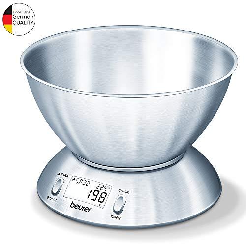 Beurer KS 54 Bilancia da Cucina in Inox Spazzolato, elettrica, stainless steel, acciaio inossidabile