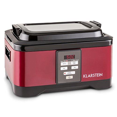 KLARSTEIN Tastemaker - fornello sotto-Vuoto, 550 Watt, intervallo di Temperatura 40-90°C, Tempo di Cottura: 1-24h, Coperchio in Vetro, Funzionamento Touch, Acciaio Inox, Coperchio, Rosso