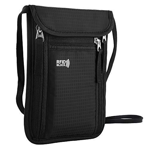 Keafols Halsmapje | Met RFID-blokker | Ruimte voor al je reisbenodigdheden | Comfortabele nekband | Waterafstotend materiaal