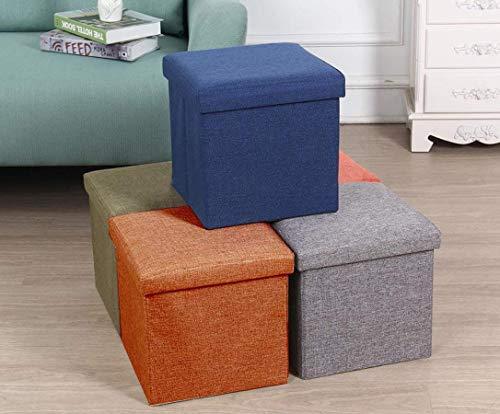 Almand Living Foldable Storage Bins Box Ottoman Bench Container Organizer with Cushion Seat Lid, Cube,Multi Colour(30X30X30 cm) (1 pcs)