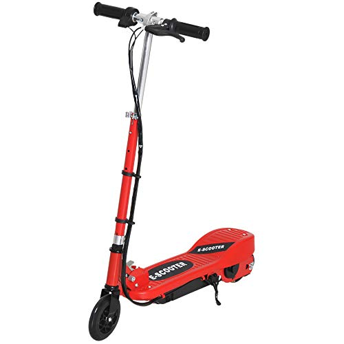 HOMCOM Patinete Eléctrico Niño 7-14 Años E-Scooter Plegable Manillar Ajustable 12km/h Batería Recargable 12V Monopatín 120W Carga 50kg Rojo