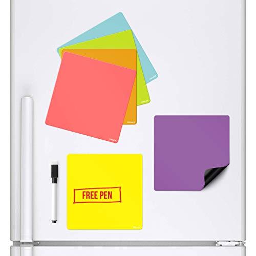 Confezione di 6 vasi Quadrati Lavagna Bianca Magnetica cancellabile Che Si Attacca al Tuo frigo Planner Signage Foglio Magnetico con Pennarello e Penna Colorati da Cucina avviso per Fare la Lista