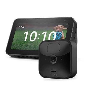 Blink Outdoor, Caméra de surveillance HD sans fil + Nouvel Echo Show 5 (2e génération, modèle 2021) | Anthracite | Kit 1 caméra