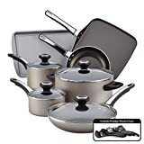 Farberware High Performance Nonstick Cookware Pots and Pans Set Dishwasher Safe, 17 Piece, Champagne
