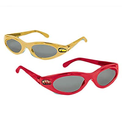 """6 sunglasses Red and yellow glossy finished sunglasses with a small image of """"Cars 3"""" character at the side Look sleek with these trendy sunglasses on Wear to parties and fun occasions"""