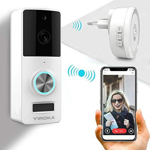 YIROKA Videocitofono Wifi Campanello Videocamera con 2 vie Audio Talk, IP55 Impermeabile, 720HD in...