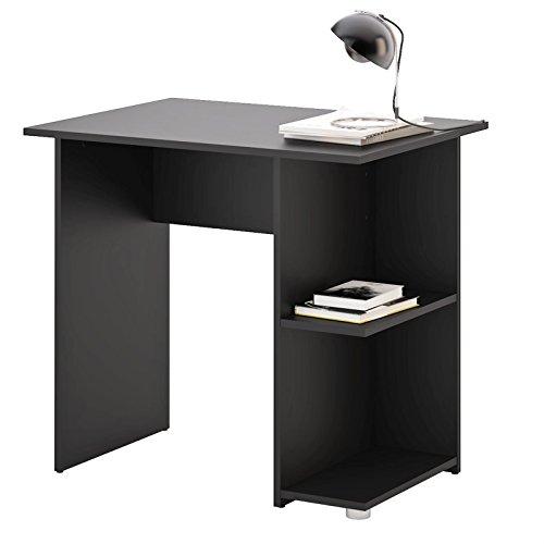 CARO-Möbel Schreibtisch Kuba Computertisch Kinderschreibtisch in schwarz, mit 2 Ablageflächen, 82 x 76 x 60 cm, Bürotisch