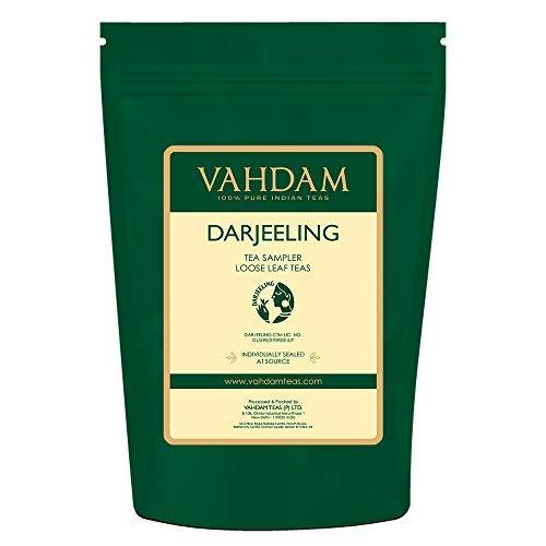 VAHDAM Campionario di Tè Darjeeling - 10 TÈ, 50 Porzioni | 100% Puro Tè Darjeeling in Foglie | Darjeeling First Flush e Second Flush - Da Gustare Freddo o Caldo - Cofanetto Assortito, 100g