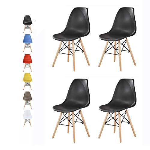 mcc direct Set of 4 Modern Design Dining Chairs Retro Lounge Chairs, LA (Black)